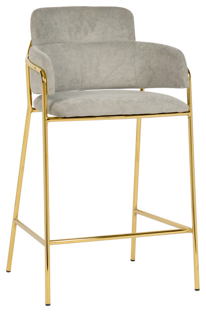 Fabulous Linen Fabric Grey Counter Stool Contemporary Modern Gold Counter Stool Setof2 Dailytribune Chair Design For Home Dailytribuneorg