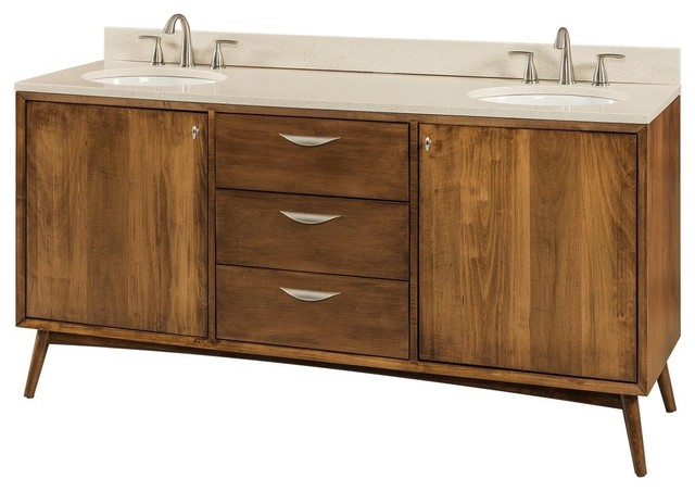 Mid Century Modern Bathroom Vanity, Brown Maple Wood Midcentury Bathroom  Vanities And