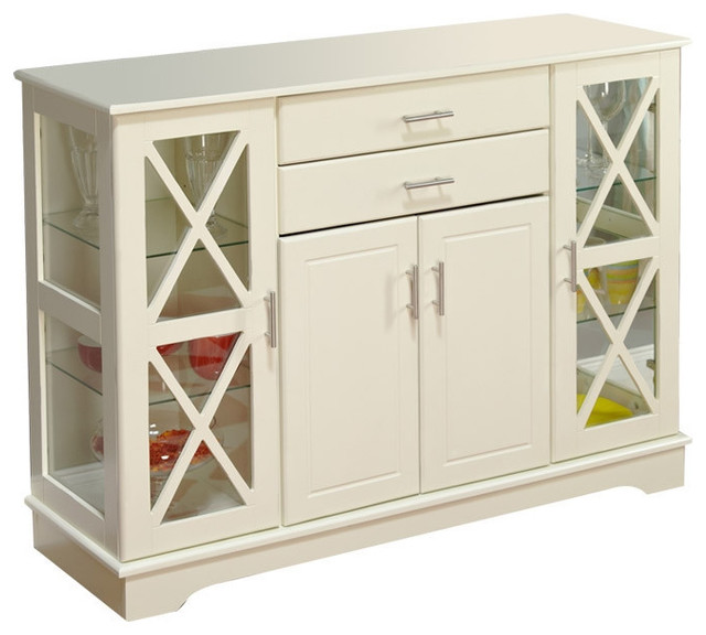 White Sideboards And Buffets: White Wood Buffet Sideboard Cabinet With Glass Display