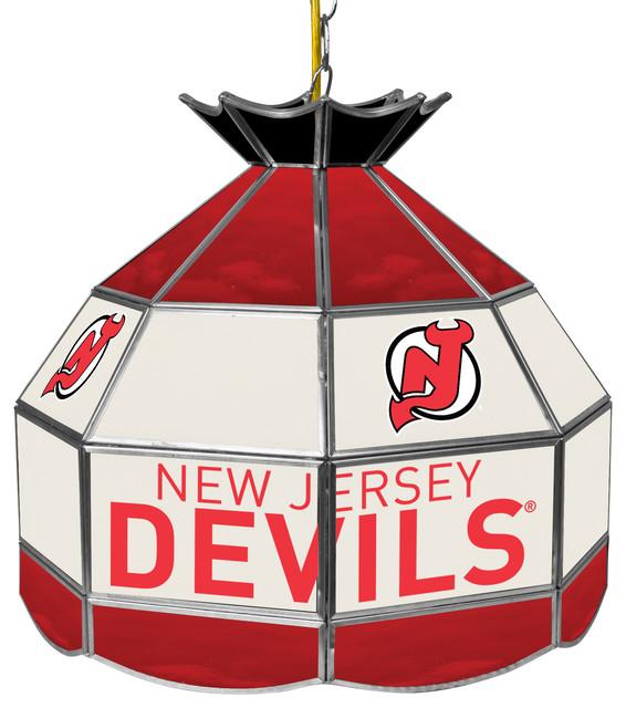 "NHL 16"" Handmade Tiffany Style Lamp, New Jersey Devils"