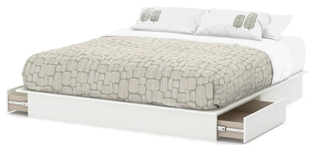 King Size Modern Platform Bed With Storage Drawers In White Finish