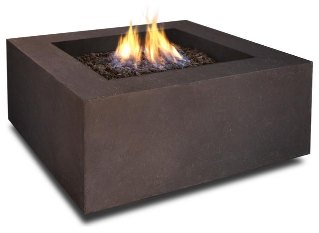Baltic Square Fire Table, Kodiak Brown Modern Fire Pits