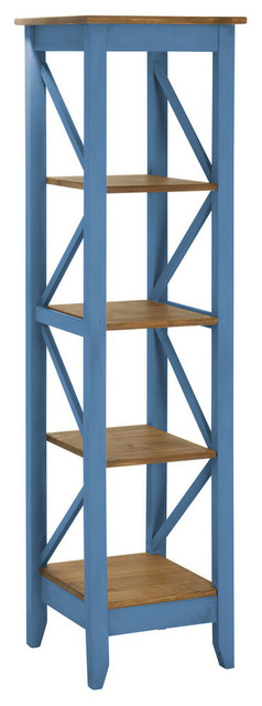 Manhattan Comfort Jay 18.5 Solid Wood Bookcase With 4 Shelves, Blue.