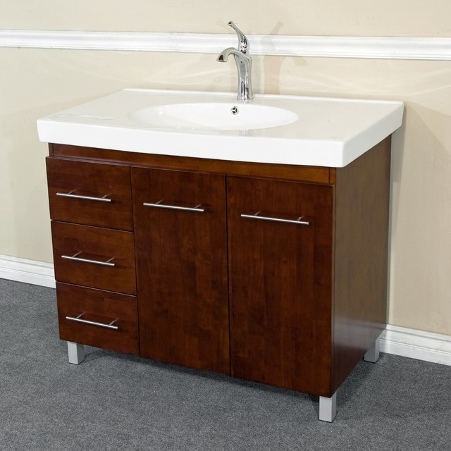 Bellaterra 39 Single Sink Vanity Solid Wood Walnut Finish Left Side Drawers