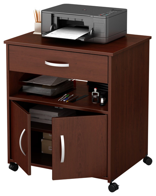 South Shore Axess Printer Cart On Wheels, Royal Cherry.