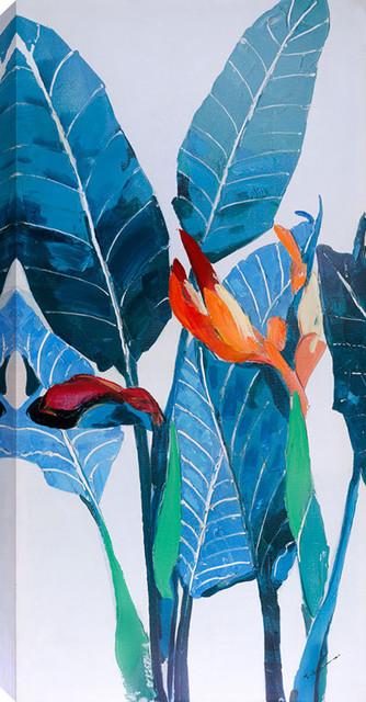 "Tropical I Acrylic Painting On Canvas, 24""x48""."