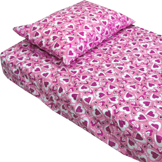 Hearts Pink Purple Bedding Twin Single Bed Sheet Set