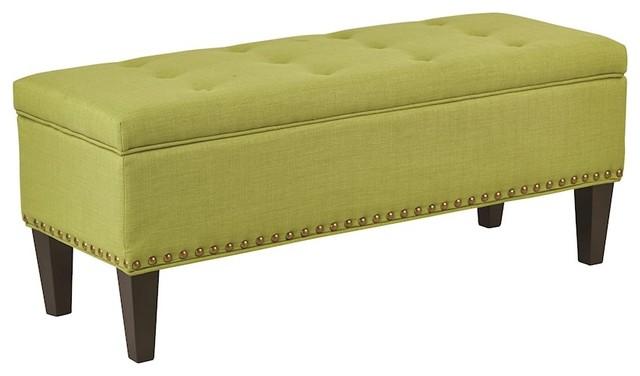 Ave Six Estrella Storage Bench, Pure, Luck Fabric, Pure, Luck