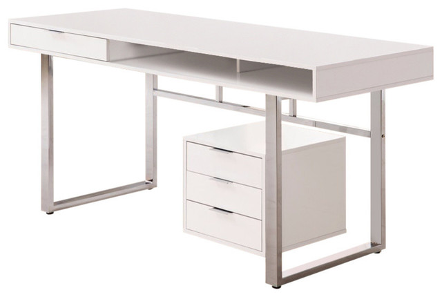 Contemporary Style Wooden Writing Desk, White.