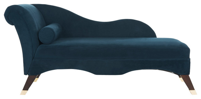 Caiden Vevlet Chaise, Navy.