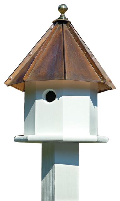 Heartwood Oct-Avian Bird House, White/Brown Copper Roof