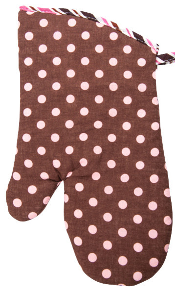 Chocolate Polka Dot Oven Mitt Contemporary Mitts And Pot Holders By Flirty As