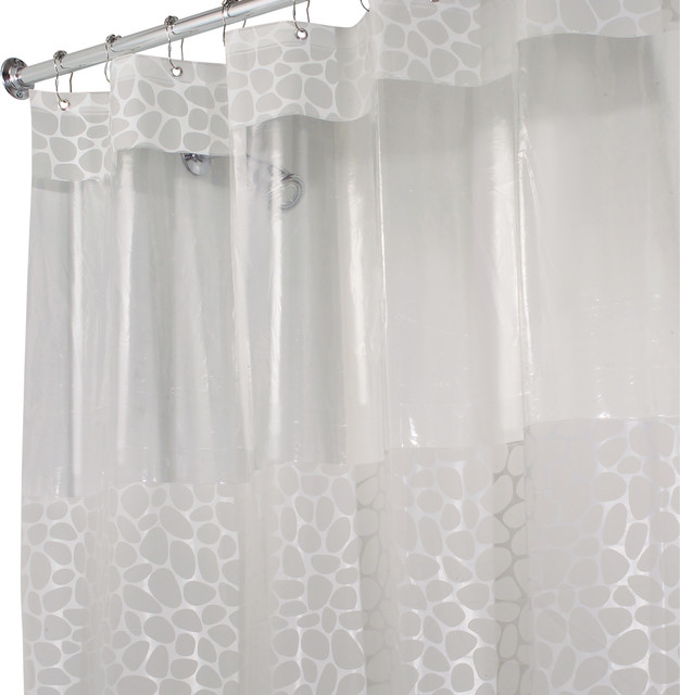 Shop Houzz InterDesign InterDesign Clear Frosted Pebblz Shower Curtain Sh