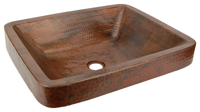 Rectangle Skirted Hammered Copper Vessel Sink 19 Traditional Bathroom Sinks
