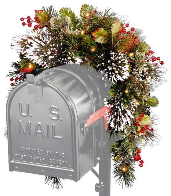 "36"" Wintry Pine Mailbox Swag With Battery Operated Warm White Led Lights."