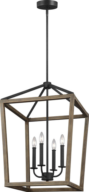 Gannet 4 Light Chandelier in Weathered Oak Wood And Antique Forged Iron