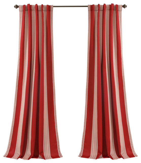 Julia Stripe Room Darkening Window Curtain Red Set, 52x84.