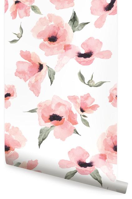 Watercolor poppy flowers wallpaper peel and stick Floral peel and stick wallpaper