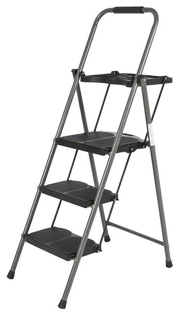 3 Step Ladder Work Platform Lightweight Folding Stool