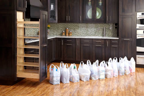 how wide is the kitchen pull out pantry & are there diff. widths