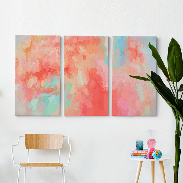 Good Splash Of Coral Triptych Wall Art