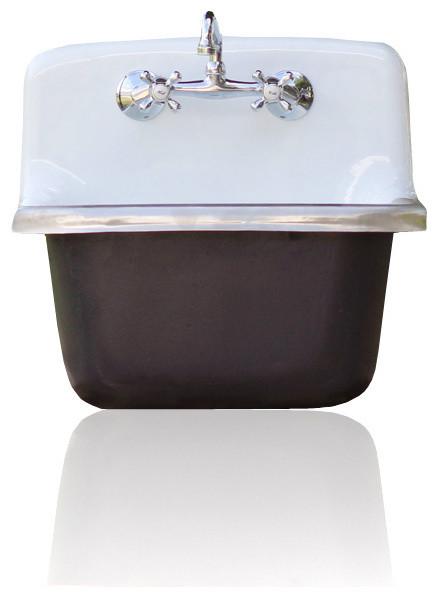 Gerber Deep Basin Porcelain Farm Basin Utility Sink Matte Tricorn Black Exte