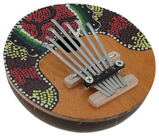 Hand Crafted Coconut and Wood Kalimba Mbira Thumb Piano - Tropical - Decorative Objects And ...