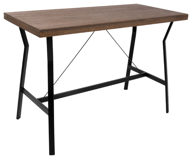 Lumisource Wishbone Counter Table, Walnut and Black