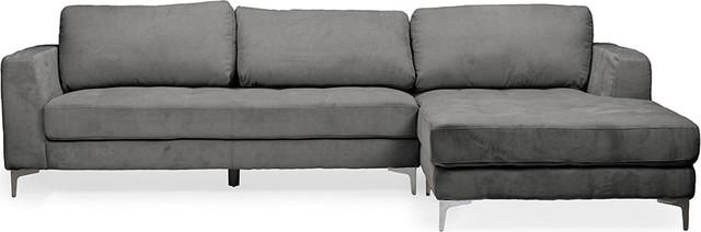 Enjoyable Agnew Contemporary Microfiber Sectional Sofa Gray Right Facing Uwap Interior Chair Design Uwaporg