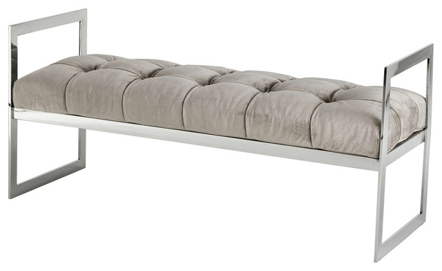 Darin Hollywood Regency Silver Gray Velvet Tufted Cushion Bench. -2