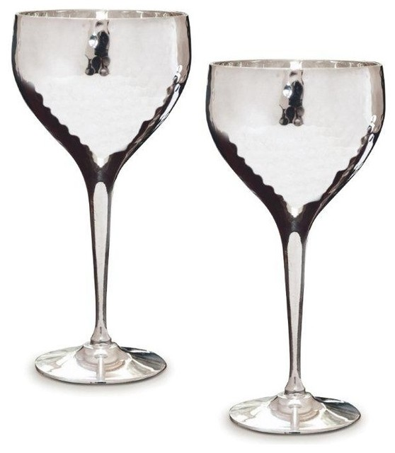Pair Of Hammered Silver Plated Wine Goblets Contemporary