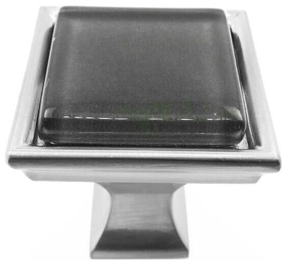 Jet Gray Crystal Glass Brushed Nickel Madison Classic Knob