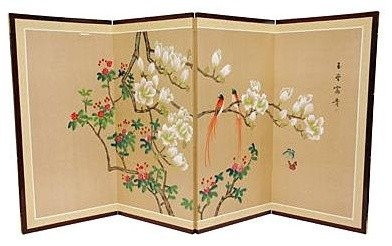Love Birds Silk Screen Painting or Room Divider (36 in. H x 72 in. W)