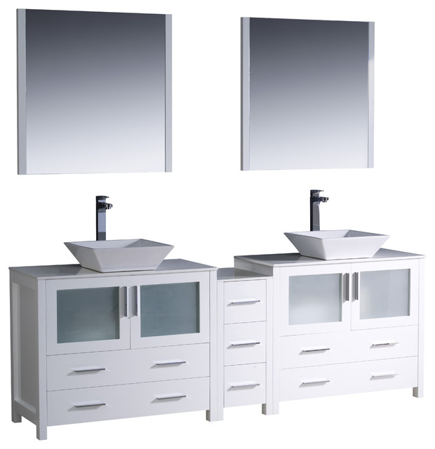 84 white modern double sink vanity side cabinet and vessel sinks