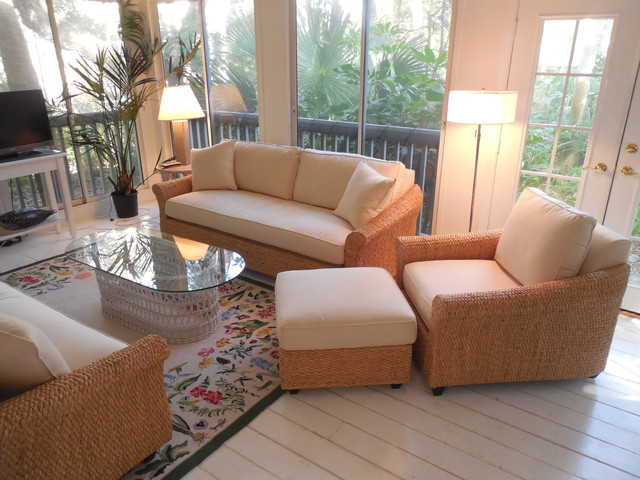 Banana Leaf Sofa Chair And Ottoman Tropical