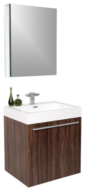 "22.5"" Alto Walnut Vanity, Medicine Cabinet Versa Brushed Nickel Faucet."