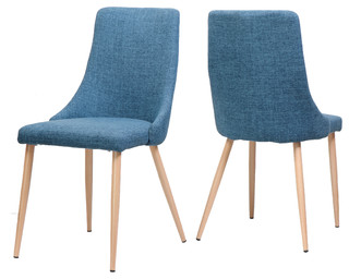 Soloman Mid Century Fabric Dining Chairs With Wood Finished Legs, Set of 2