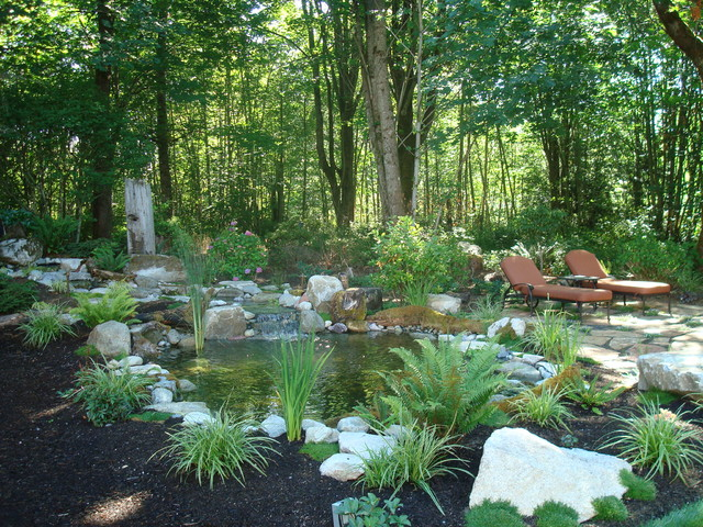 Woodland patio water feature rustic landscape for Woodland garden design