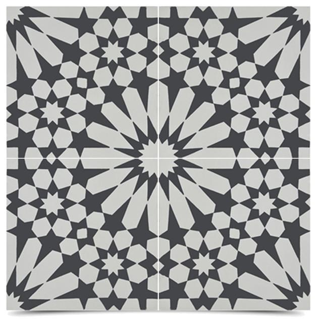 Agdal handmade cement tile black white sample for Handmade cement tiles