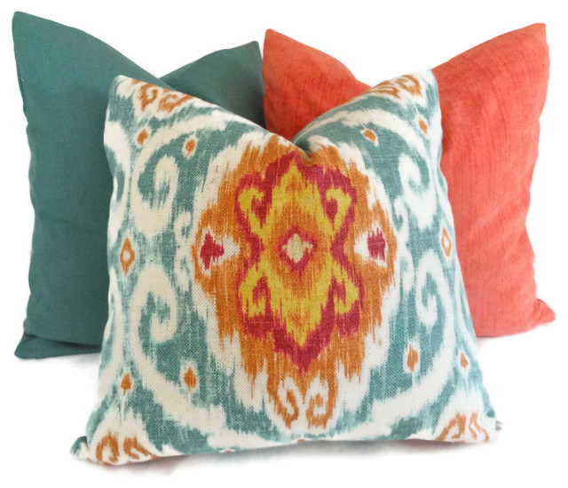 Eclectic Mix Of Pillows : Iman Turquoise and Orange Ikat Decorative Pillow Cover By PopOColor - Eclectic - Decorative ...