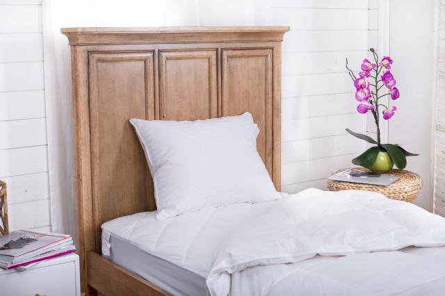 700 Fill Power 100% Hungarian White Goose Down Pillow | 100% Cotton Stripe Shell