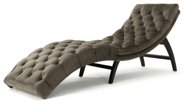 Garamond Tufted New Velvet Chaise Lounge, Gray.