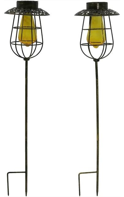Sunnydaze Patina Solar LED Lantern with Vintage-Style Bulb Blue Set of 2