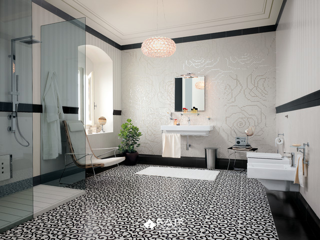 Patterned Black U0026 White Floor Modern Bathroom