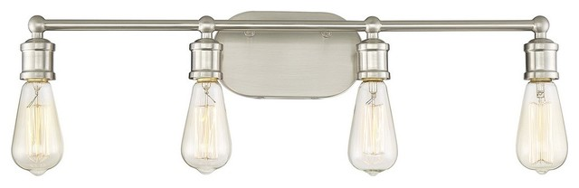 Vintage-Style 4-Light Industrial Bath Bar, Brushed Nickel.