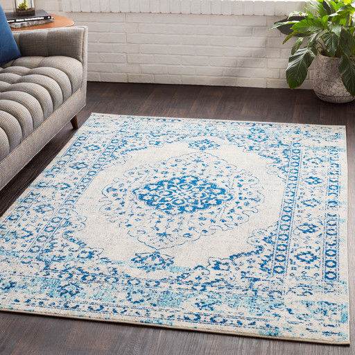 Lukachukai Vintage-Style Distressed Blue Area Rug - Contemporary ...
