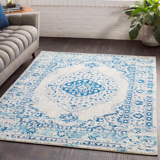 Lukachukai Vintage-Style Distressed Blue Area Rug - Contemporary ...