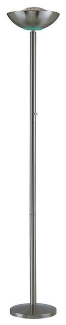 Basic Ii Halogen Torchiere Lamp In Polished Steel.