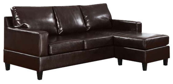 Phenomenal Vogue Reversible Chaise Sectional Espresso Polyurethane Bralicious Painted Fabric Chair Ideas Braliciousco