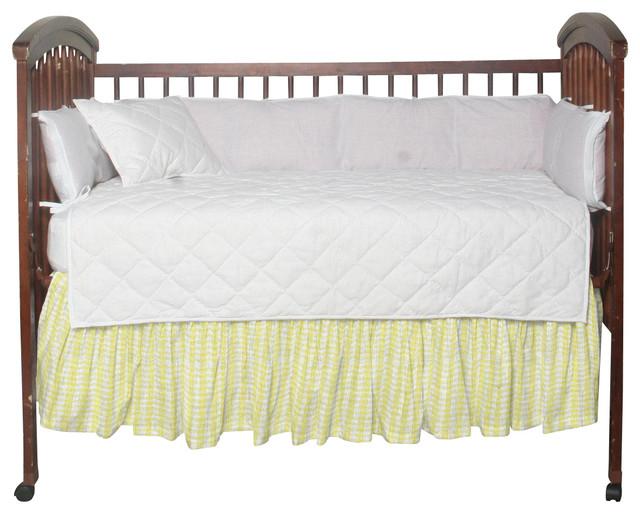 Half White With Light Yellow Fabric Dust Ruffle Crib